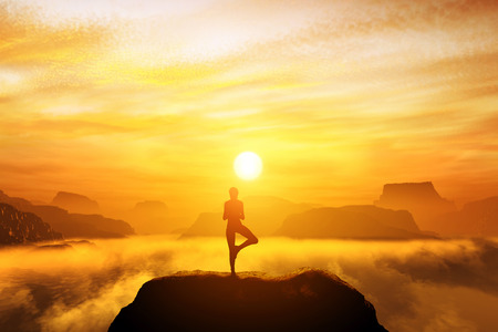 Photo for Woman meditating in tree yoga position on the top of mountains above clouds at sunset. Zen, meditation, peace - Royalty Free Image