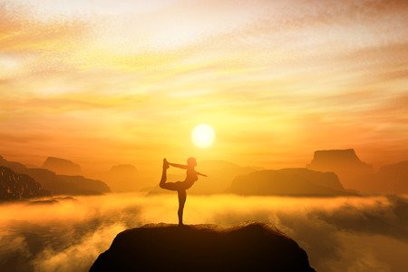Photo for Woman meditating in the dancer yoga position on the top of mountains above clouds at sunset. Zen, meditation, peace - Royalty Free Image