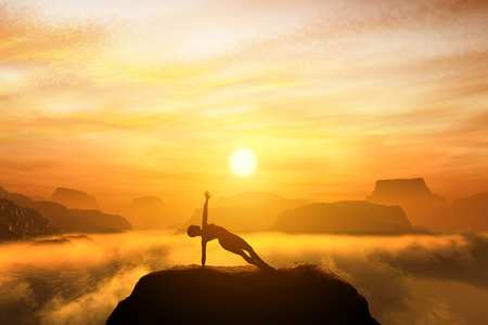 Photo for Woman meditating in side balance yoga position on the top of mountains above clouds at sunset. Zen, meditation, peace - Royalty Free Image