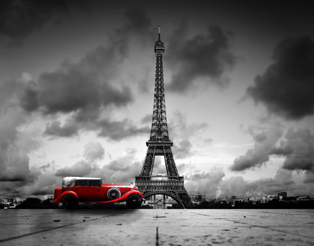 Photo for Artistic image of Effel Tower, Paris, France and red retro car. Black and white, vintage. - Royalty Free Image
