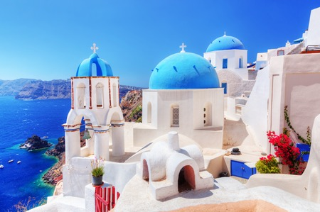 Oia town on Santorini island, Greece.