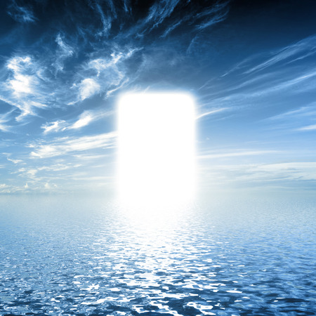 Gate is paradise, on water way towards light, new world. Concepts for religion, God, hope, faith.