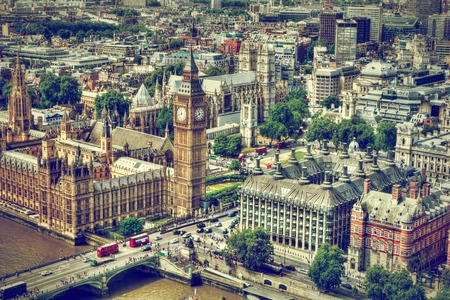 Big Ben, Westminster Bridge on River Thames in London, the UK. English symbol. Aerial view