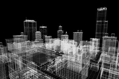 3d city mesh architecture concept.