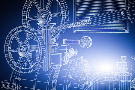 Photo pour Abstract industrial, technology background. Gears outlines, engineering, factory - image libre de droit