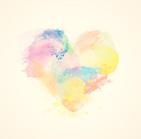 Photo for Colorful watercolor heart on canvas. Abstract art. Super high resolution and quality. - Royalty Free Image