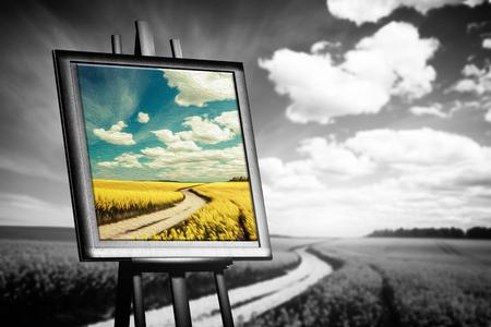 Photo pour Landscape picture painted on canvas against black and white field. Concept of art, new world, hope. - image libre de droit