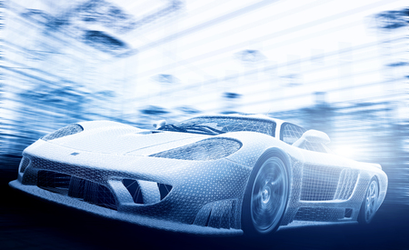 Photo pour Concept car model in blueprint, wireframe. Speed, technology and ecology - the future of the industry. - image libre de droit