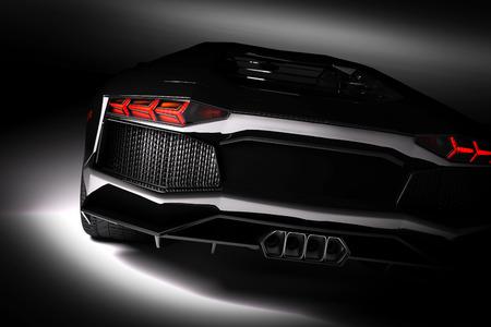 Foto de Black fast sports car in spotlight, black background. Shiny, new, luxurious. 3D rendering - Imagen libre de derechos