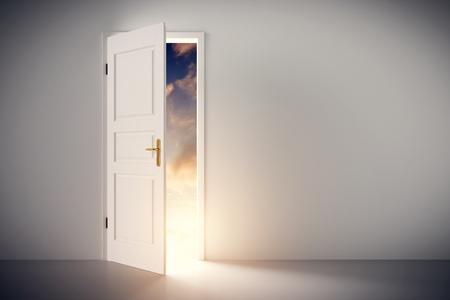 Photo pour Sun shining through half open classic white door. Concepts of new life, hope, religion etc. 3D illustration - image libre de droit