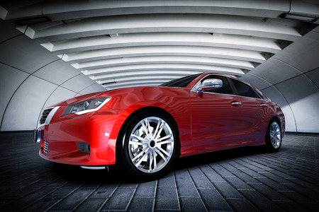 Photo pour Modern red metallic sedan car in urban setting - tunnel. Generic desing, brandless. 3D rendering. - image libre de droit