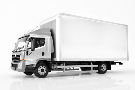 Photo pour Commercial cargo delivery truck with blank white trailer. Isolated, generic, brandless vehicle design. 3D rendering - image libre de droit