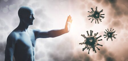 Photo for Man stopping coronavirus. Immune system defend from corona virus COVID-19. 3D render - Royalty Free Image