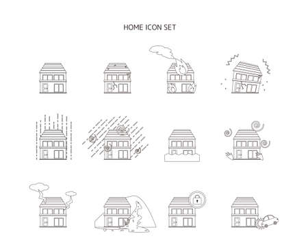 Photo pour Vector illustration of a house / house. Earthquake. Disaster. Insurance (number) - image libre de droit