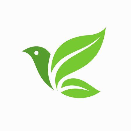 Illustration for Green leaf formed bird logo template - Royalty Free Image