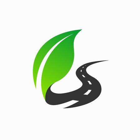 Illustration for leaf logo that formed road - Royalty Free Image