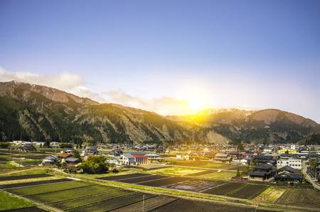 Beautiful sunrise on japanese countryside