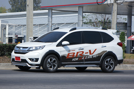 CHIANGMAI, THAILAND -FEBRUARY 16 2016:    Private New suv car, Honda BRV.   On road no.1001, 8 km from Chiangmai city.