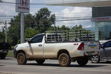 CHIANG MAI, THAILAND -SEPTEMBER 22 2017: Private Pickup Truck Car Toyota Hilux Revo 4X4 Diff Lock. On road no.1001, 8 km from Chiangmai city.
