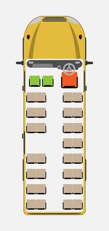 Illustration pour Top View show seat map of School Bus Vector - image libre de droit