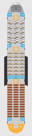 Illustration pour Wide body Aircraft Seat Map with restroom Vector illustration - image libre de droit