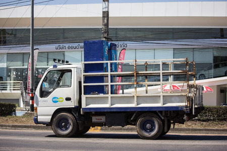 Chiangmai, Thailand - February 7 2019: Truck of Sermsuk Company. Est cola Product. Photo at road no 121 about 8 km from downtown Chiangmai, thailand.