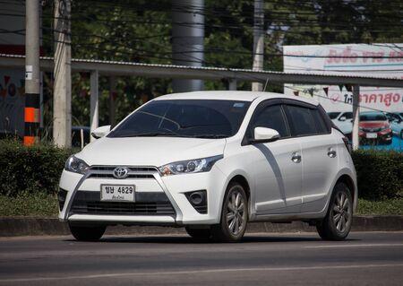 Photo for Chiangmai, Thailand - November 19 2019:  Private Car toyota Yaris Hatchback Eco Car.  Photo at road no 121 about 8 km from downtown Chiangmai thailand. - Royalty Free Image