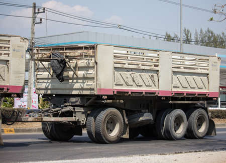 Photo for Chiangmai, Thailand - March  6 2020: Trailer Dump truck of Thanachai Company. On road no.1001, 8 km from Chiangmai city. - Royalty Free Image