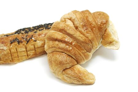 croissant and pain au chocolat isolated on a white background