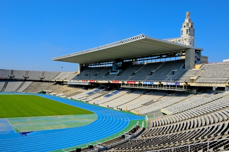 Barcelona, Spain - May 23, 2010 - A view of Estadi Olimpic Lluis Companys, that hosted the Olympic Games of Barcelona in 1992