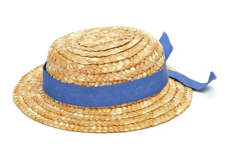 a straw hat with a blue ribbon on a white background