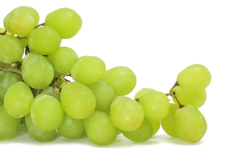 closeup of a bunch of table grapes on a white background
