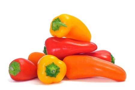 Foto für sweet bite peppers of different colors, orange, red and yellow, on a white background - Lizenzfreies Bild