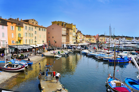 Saint-Tropez, France - May 13, 2015: A view of the Old Port in Saint-Tropez, France. Saint-Tropez is a famous destination for European and Worldwide tourists in the French-Riviera