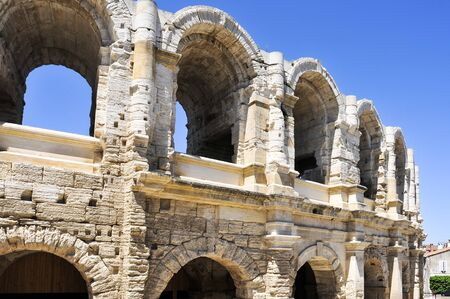 a view of the Roman amphitheatre of Arles, France, also known as Arena of Arles