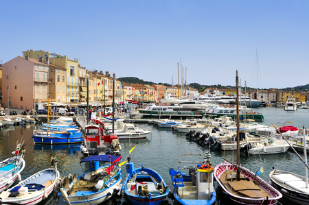 Saint-Tropez, France - May 13, 2015: A view of the Old Port in Saint-Tropez, France. Saint-Tropez is a famous destination for European and Worldwide tourists in the French Riviera