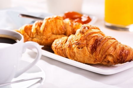 breakfast with fresh croissants and coffee