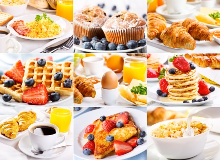 collage of breakfast with eggs, coffee, croissants, pastry and fruits