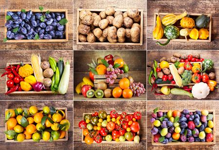 Foto de collage of various fruits and vegetables in wooden box - Imagen libre de derechos