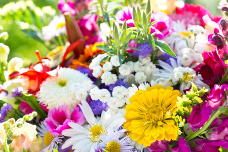 bouquet of summer flowers on green background