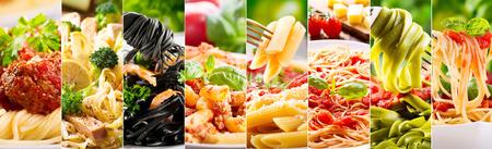 Foto de collage of various plates of pasta as background - Imagen libre de derechos