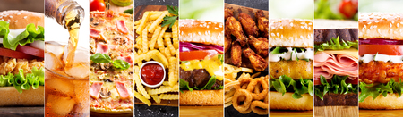 Photo pour collage of various fast food products and drinks - image libre de droit