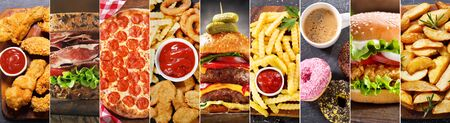 Photo pour food collage of various fast food meals and drinks - image libre de droit