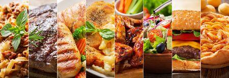 Photo pour food collage of various types meals - image libre de droit