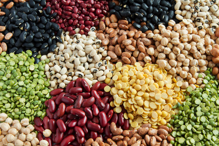 Foto de Various Legumes, colorful beans top view - Imagen libre de derechos