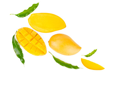 Photo for Mango and leaves flat lay on isolated white background, top view - Royalty Free Image