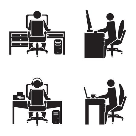 Illustration pour Person working on a computer vector illustration - image libre de droit