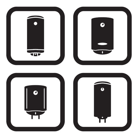 Water heater or boiler icon in four variations
