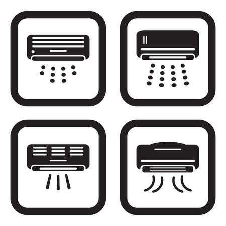 Air conditioner icon in four variations