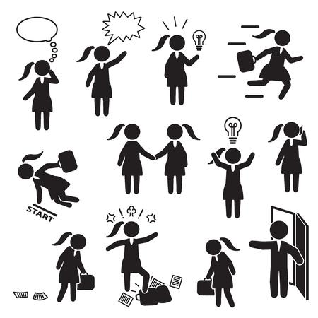 Ilustración de Businesswoman and woman working in business icon set. Vector. - Imagen libre de derechos